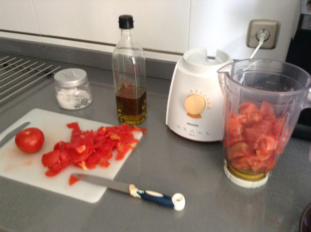 preparación gazpacho